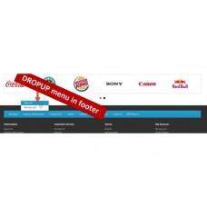 Categories menu in footer with dropup