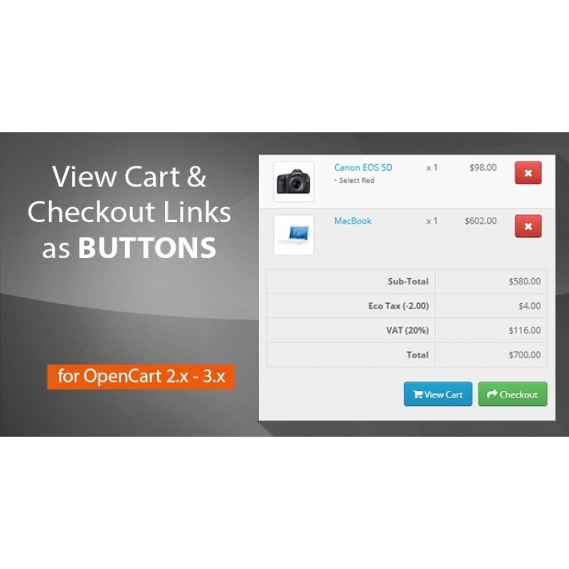 View Cart and Checkout Links as Buttons