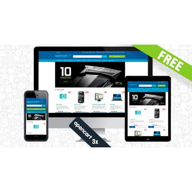 Free Opencart theme with improvements blue or dark color