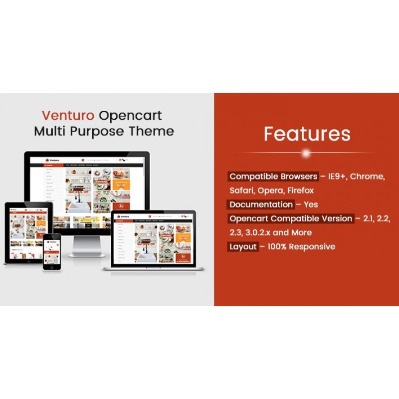 Venturo Opencart Multi Purpose Opencart Responsive Theme